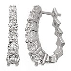 Badgley Mischka® The New Classics Sterling Silver w/White Topaz Hoop Earrings