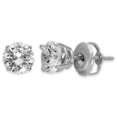 Certified 14K White Gold, Round White 1/10 cttw Diamond Studs