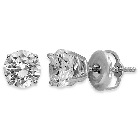 Certified 14K White Gold, Round White Diamond Stud Earrings