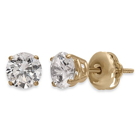 Certified 14K Gold, White Diamond Stud Earrings