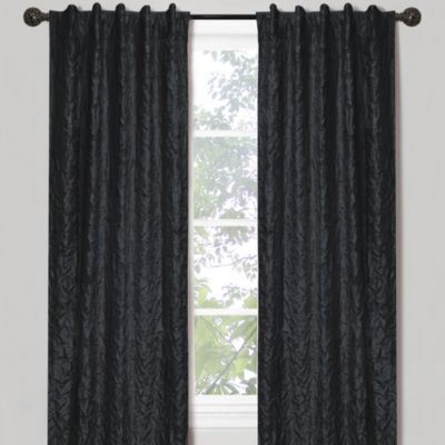 Crinkle Chintz 84-Inch Window Curtain Panel in Black