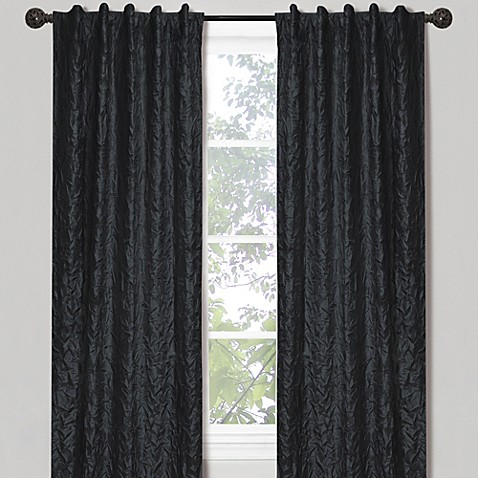 Crinkle Chintz 84-Inch Window Curtain Panel in Black