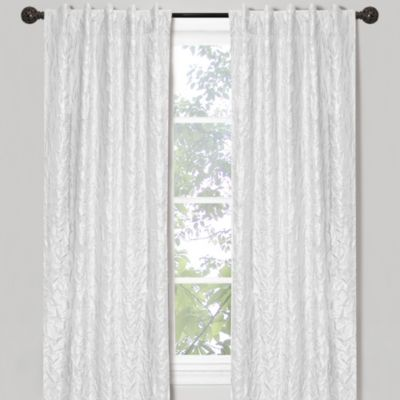 Crinkle Chintz 84-Inch Window Curtain Panel in White