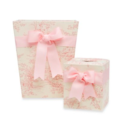 Glenna Jean Isabella Tissue Box Cover and Waste Basket Set