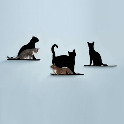 The Refined Feline™ Set of 3 Cat Silhouette Cat Shelves in Red
