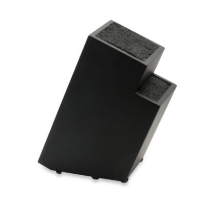 Kapoosh Small 2-Step Wood Grain Knife Block in Black