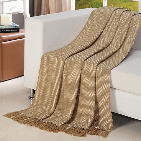 Chevron Knitted Throw in Tan/Cream