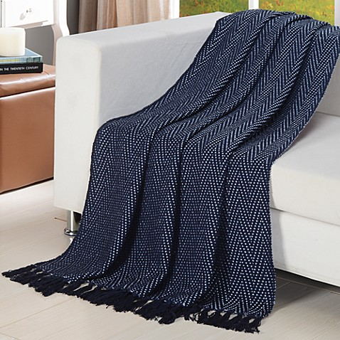 Chevron Knitted Throw in Blue/Light Blue
