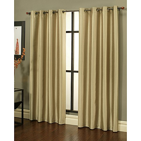 Buy Sherry Kline 84 Inch Faux Silk Grommet Blackout Window Curtain Panels In Taupe Set Of 2