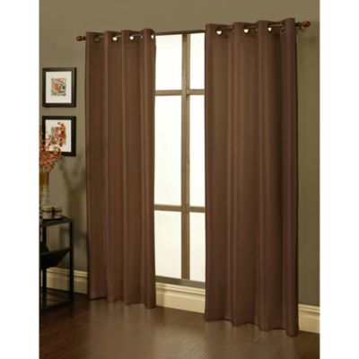 Sherry Kline 84-Inch Faux Silk Grommet Blackout Window Curtain Panels in Ecru (Set of 2)