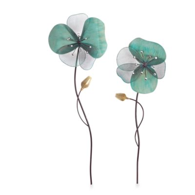 Blue Metal Flower Wall Art