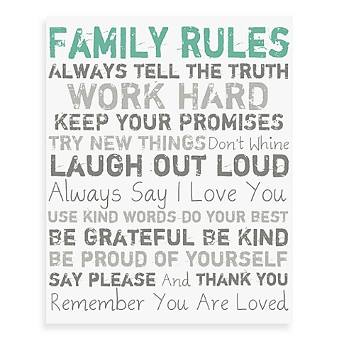 Family Rules Canvas Wall Art - Blue