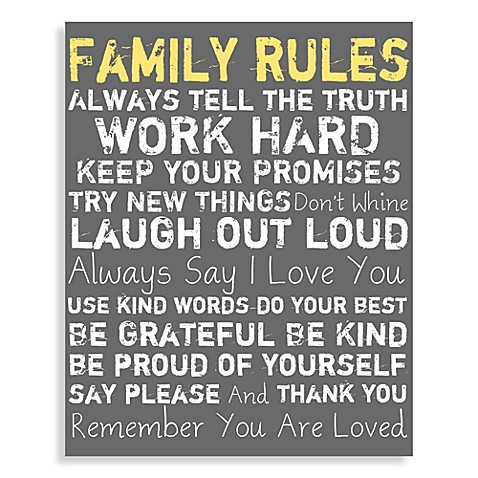 Family Rules Canvas Wall Art - Grey