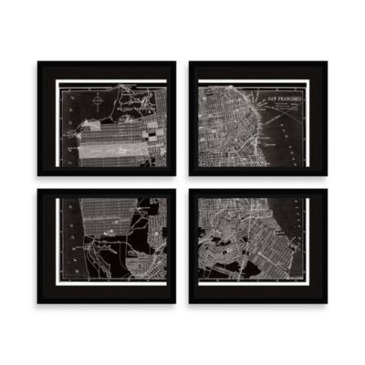 San Francisco Map Four-Piece Wall Art