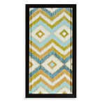Blue/Green Ikat Zig Zag Shadowbox Wall Art