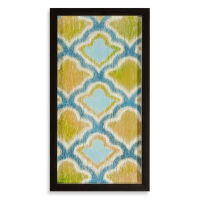 Blue/Green Ikat Shapes Shadowbox Wall Art