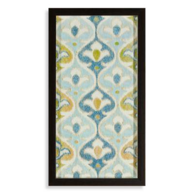 Blue/Green Ikat Flowers Shadowbox Wall Art