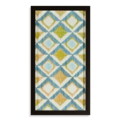 Blue/Green Ikat Honeycomb Shadowbox Wall Art