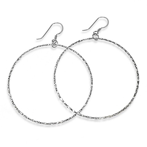 Charlene K Sterling Silver Machine Hammered 2-Inch Hoop Earrings