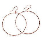 Charlene K 14K Rose Gold Vermeil Machine Hammered 2-Inch Hoop Earrings