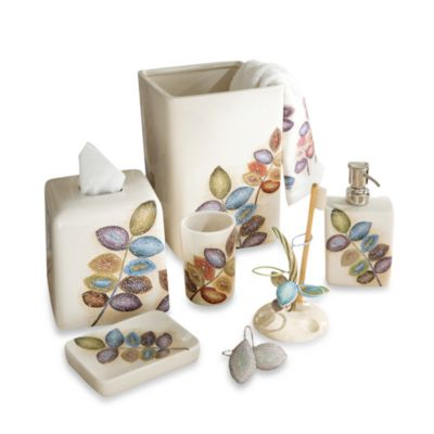 Croscill Mosaic Leaves Toothbrush Holder