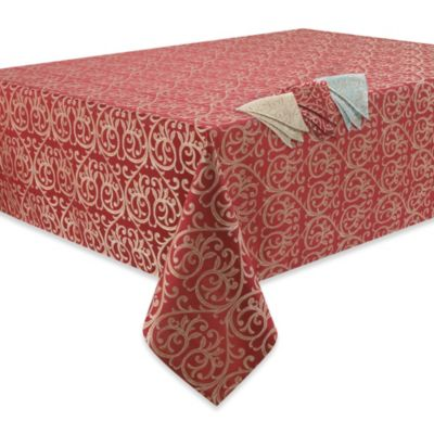 Waterford® Linens Anya 60-Inch x 60-Inch Tablecloth Topper in Red