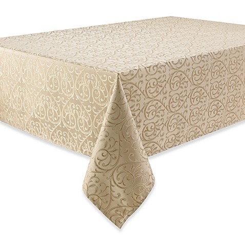 Waterford® Linens Anya 90-Inch Round Tablecloth in Gold