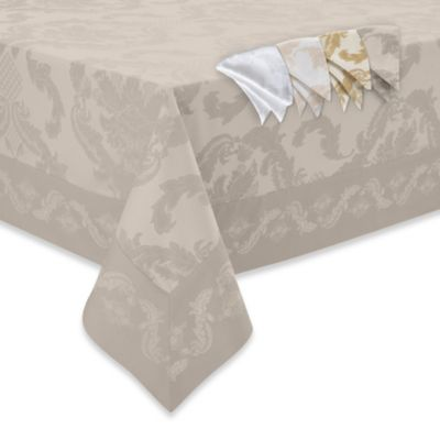 Waterford® Linens Damascus 70-Inch x 144-Inch Tablecloth in Moonstone
