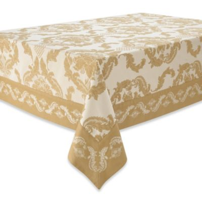 Waterford® Linens Damascus 70-Inch x 144-Inch Tablecloth in Amber
