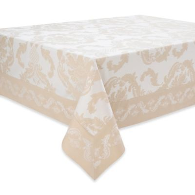 Waterford® Linens Damascus 70-Inch x 104-Inch Tablecloth in Moonstone