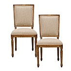 Safavieh Ashton Rect Side Chair in Sand/Medium Oak (Set of 2)