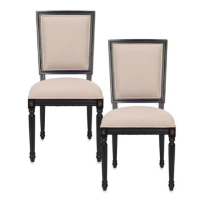 Safavieh Ashton Rect Side Chair in Beige/Black (Set of 2)