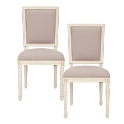 Safavieh Ashton Rect Side Chair in Beige/White (Set of 2)