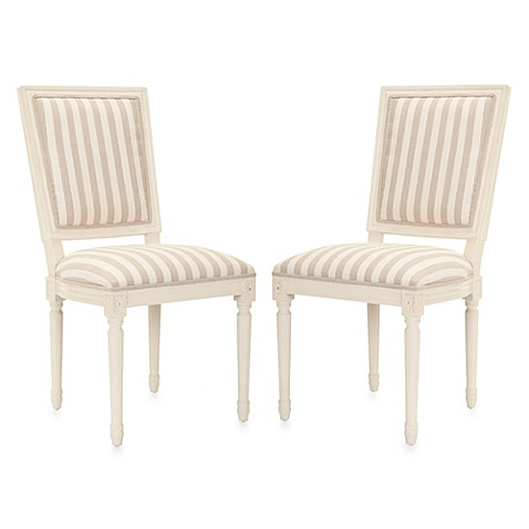 Safavieh Ashton Rect Side Chair in Cream/Grey Stripes (Set of 2)