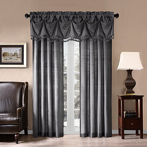 Imperial Silk Window Valance in Charcoal