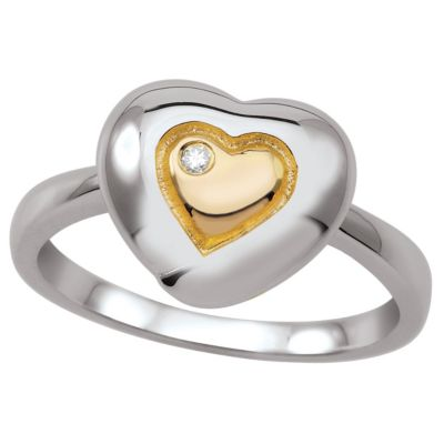 My First Diamond Sterling Silver .0075 cttw Diamond Heart Ring