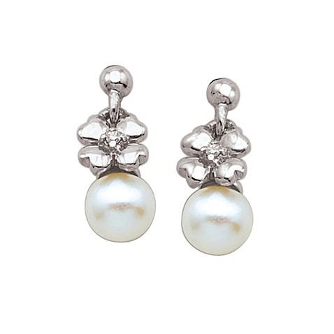 My First Diamond Sterling Silver Diamond Flower and White Pearl Earrings