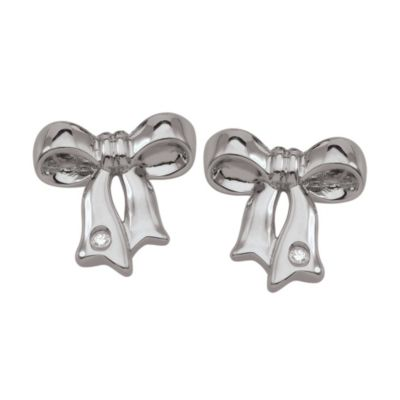 My First Diamond Sterling Silver .01 cttw Diamond Bow Earrings