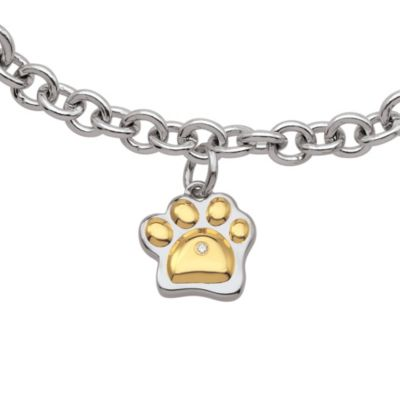 My First Diamond Sterling Silver .005 cttw Diamond Paw Print Bracelet