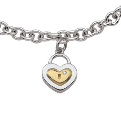My First Diamond Sterling Silver .005 cttw Diamond Heart Lock Bracelet