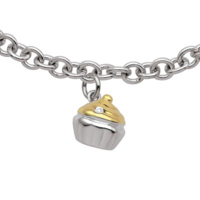 My First Diamond Sterling .005 cttw Diamond Cupcake Bracelet