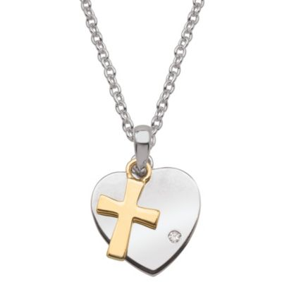 My First Diamond Sterling Silver Diamond and Pearl Heart And Cross Necklace
