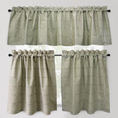 Park B. Smith Durham Square 24-Inch Kitchen Window Curtain Tier Pair in Sage