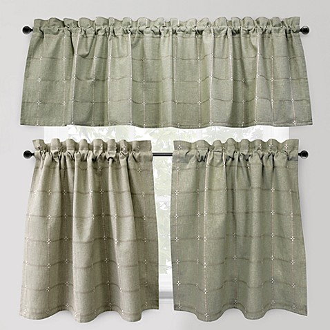 Park B. Smith Durham Square 24-Inch Kitchen Window Curtain Tier Pair in Sage