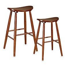 Linon Home Amarillo Stool in Oak