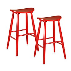 Linon Home Amarillo Stool in Red