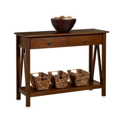 Linon Home Décor Products Pine Console Table in Antique Tobacco