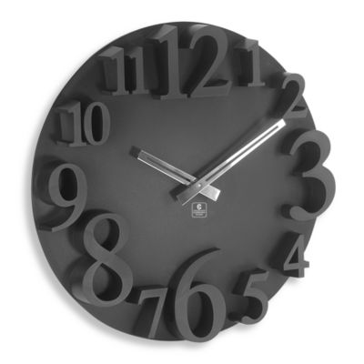 Cupecoy Design Black 16-Inch Wall Clock with Raised Numbers
