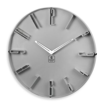 Cupecoy Design Grey 16-Inch Wall Clock with Raised Numbers