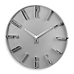 Cupecoy Grey 16-Inch Wall Clock with Raised Numbers